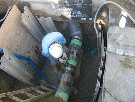 入替工事 既設LPW250AX 新設LPW250A 接続工 接続後 漏洩検査(検知器 発泡液)